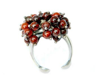 Red Jasper Sterling Silver Dangle Ring Vintage Artisan Paula Cuff Style Brecciated Jasper Stone Sterling Silver Gift Idea For Her Size 7