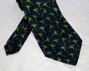 Vintage Frog Men's Tie  - Snowdrop Original Designs by Ella - 100% Silk - Fifth Ave New York - 1990s - Great Graphics - Dry Clean