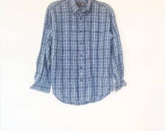 Blue Plaid Flannel Shirt Vintage Men's Large Plaid Shirt Women's Oversize Flannel Shirt Vintage Button Down Blue Cotton Shirt Long Sleeve