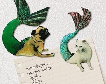 Mermaid Magnet Set | Cat Magnet  |  Pug Magnet |  Animal Refrigerator Magnets | Illustrated Wood Magnet | Laser Cut Wood