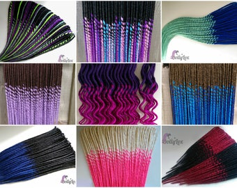 CUSTOM Synthetic Smooth dreads - Transitional colours - ** DEPOSIT ONLY ** 50 double ended synth dreadlocks de