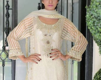 Mother of Pearl formal dress, women clothing, white salwar kameez, pakistani/indian clothes