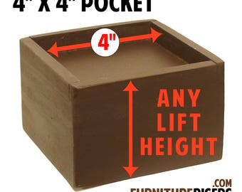 """4"""" x 4"""" Top Pocket Furniture Risers, Bed Lifters - Custom Sizes, All Wood"""