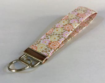 Flower Key Fob - Key Chain - Key Fob Wristlet - Key Holder - Key Strap - Fabric Key Chain
