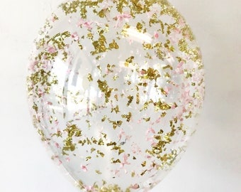 Metallic Gold Blush Pink Confetti Balloons - Set of 3 - Birthday party bachelorette wedding bridal shower | Free Shipping
