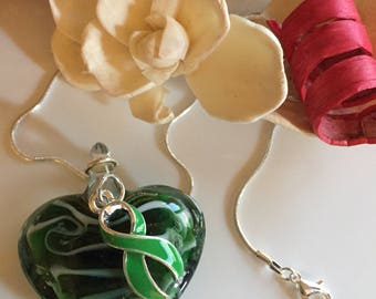 Green Ribbon / Glass Heart Pendant - Kidney / Adrenal Cancer Awareness Necklace / Cerebral Palsy / Mitochondrial Disease Awareness