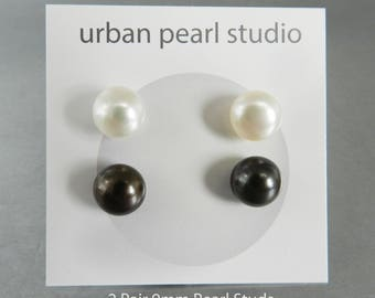 Pearl Earrings Gift Set 2 Pair Pearl Stud Earrings Simple Pearl Earrings Ivory Cream Pearls Black Pearl Earrings 9mm