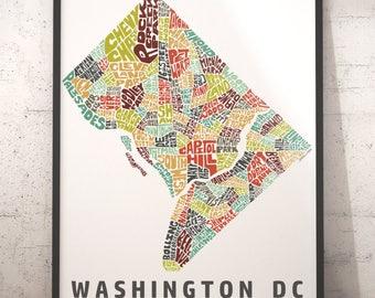 Washington DC map art, Washington DC art print, Washington DC typography map, map of washington dc, dc neighborhood city map with title