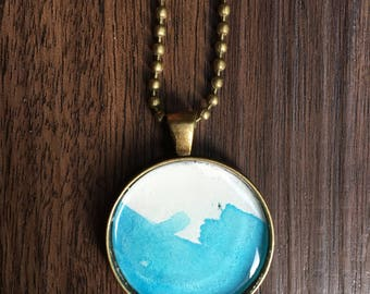 Abstract Watercolor pendant necklace--blue and white