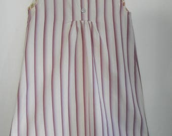 dress striped purple and white, cotton, 4/6 years old