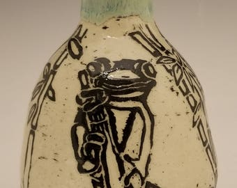 Frog sitting on bamboo stoneware vase hand carved sgraffito design
