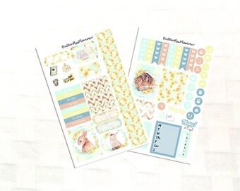 Sunflower Planner Sticker Kit for Personal Sized Planners, Mini Planner Sticker Kit