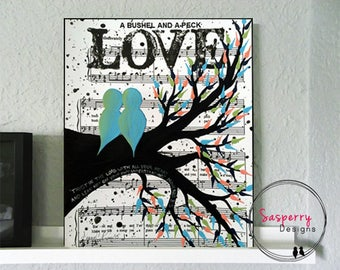 Wedding Gifts, Wedding Gift First Dance Lyrics, Love Bird Painting, Newlywed Gift, Engagement Gift, Gift for Bride, Music Sheet Art