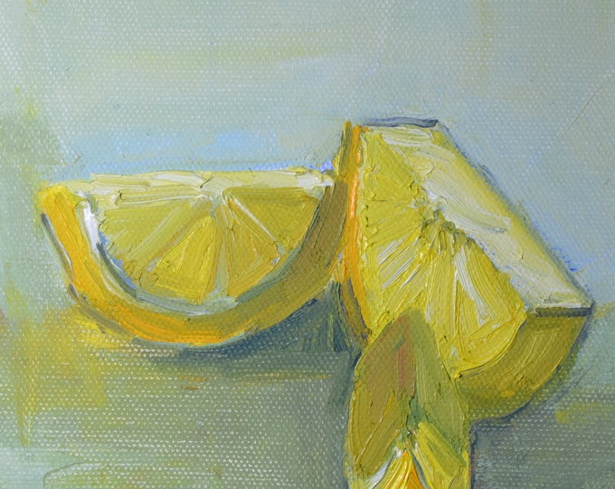 Lemon painting, Lemon slices,  Still life Lemon, Fruit painting, Original oil, oil  canvas,  6x6  small square modern painting, yellow