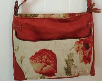 Faux suede shoulder strap purse