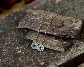 CZ Threader Earrings, CZ Earrings, Gold Ear Threader, April Birthstone Jewelry, Threader Earrings, Thread Earring, Ear Threads