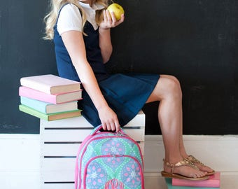 Marlee Backpack - May be Monogrammed or Personalized with Embroidered Name - Back to School Book Bag Pink, Aqua