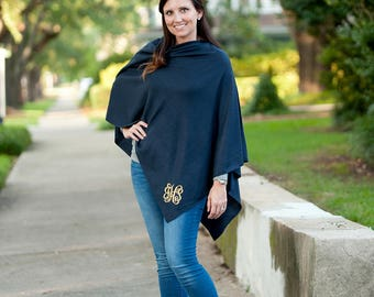 Navy Blue Chelsea Pashmina Poncho - May be Embroidered with Monogram