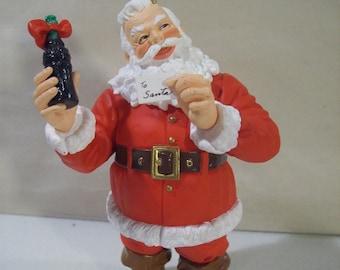 Vintage Coca Cola Santa Claus with Coke Bottle Christmas Ornament 1994