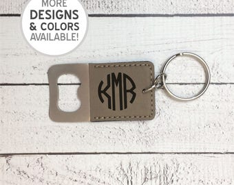 Engraved Bottle Opener Keychain, Personalized bottle opener, laser engraved, Circle Monogram