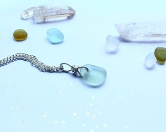 Aqua Sea Glass Necklace Silver Eco Friendly Jewellery Gift