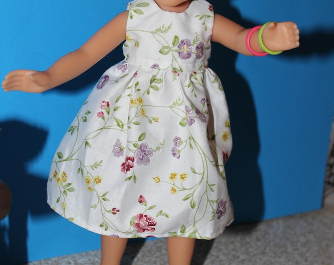 Handmade Flowers print Dress, Shoes Included. to fit the wellie wisher and Heart to Heart doll FREE SHIPPING