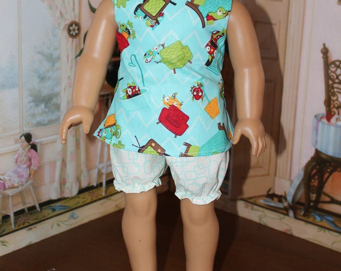 Monsters Pajama's, Tonic and Bloomers W/Shoes. Handmade to fit the American Girl and Other 18 inch doll s Free Shipping