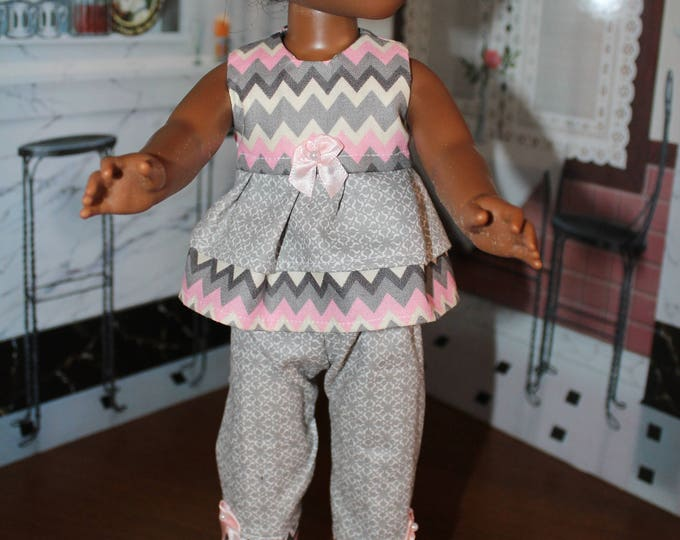 Chevron Print Top Gray Pants with Bows and Shoes. Handmade to fit the Wellie Wisher Dolls and 14 5 inch Dolls, FREE SHIPPING