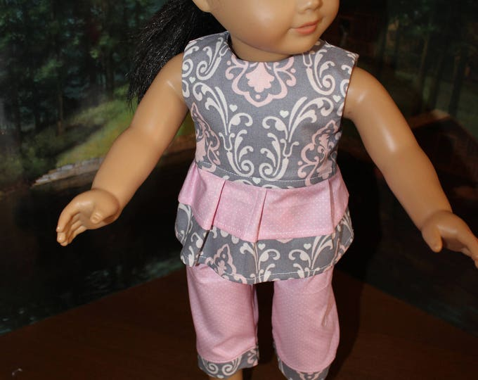Ready for New Year Pink and Gray Top,Pants and Shoes. Handmade to fit the American Girl Doll Clothes and Our Generation Doll, FREE SHIPPING