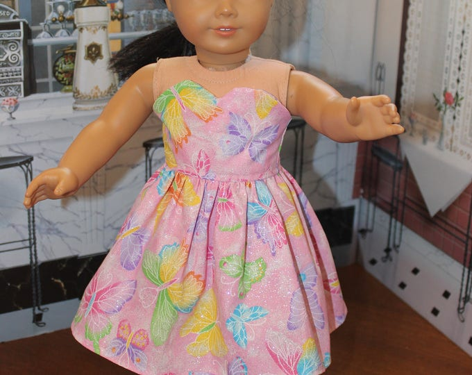 Strapless, Bright ,Silvery, Butterfly, Print Dress , Matching Shoes made for the AG and other 18 inch dolls FREE SHIPPING