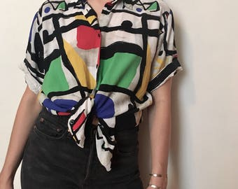 80s abstract print blouse, primary colours artist smock t shirt, red white blue yellow black - vintage -
