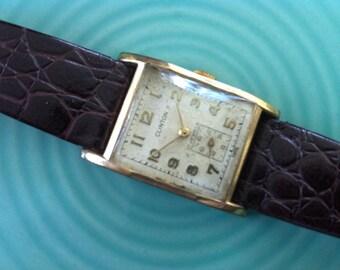 Vintage Men's Watch, Clinton Wristwatch 10k Rolled Gold Plate, 17 Jewels, Cromwell Movement - Fine Swiss Watch, 17 Jewels, Rectangular