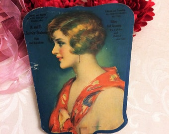 Gorgeous Flapper Advertising Fan c 1920s Profile, Cardboard Hand Fan, Pretty Lady Pin Up Girl Vintage Vanity Boho Chic Decor