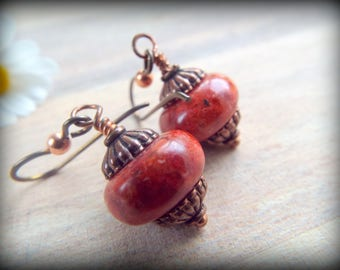 Red Sponge Coral and Antique Copper Hypoallergenic Earrings - Niobium Earwires- Vintage Style Red Earrings - Boho Earrings - byLaurieB