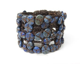 lapis lazuli bangle, Blue stone bangle on brown wax cord, unique bracelet