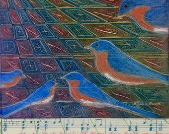 Bluebird painting with song music