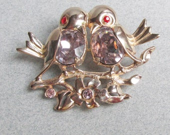 RARE Signed WEISS Vintage Lovebirds Lilac Rhinestone Belly Pin