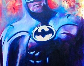 "Batman Michael Keaton  12""x18"" Poster Print Superheroe DC Comic Print Wall Art Colorful Abstract Pop Art"