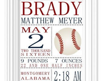 PRINTED Boys Baseball Birth Stat Nursery Art Print Printed and Shipped Personalized Art Kids Nursery Decor Baby Decor Kids Rooms Decor