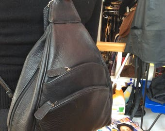 Vintage Black Leather Backpack St Johns Bay