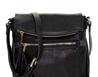 Black Faux Leather Crossbody