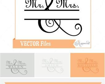 Mr. & Mrs. SVG Split Frame, Wedding SVG, Split Horizontal Frame Design, Split Monogram SVG