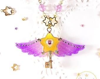 Gold Star Pendant, Star Pendant Necklace, Magical Jewelry, Mahou Shoujo, Kawaii Jewelry, Kawaii Necklace, Star Key Necklace