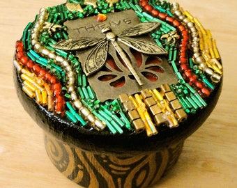 "Beaded Mosaic Jewelry Box - ""Thrive"" - Round Wood Box with Beaded Lid"