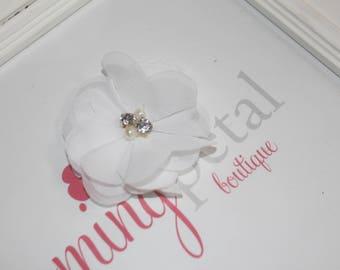 White Chiffon Rhinestone/Pearl Flower Clip