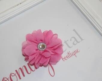 Bubblegum Pink Chiffon Rhinestone Flower Clip