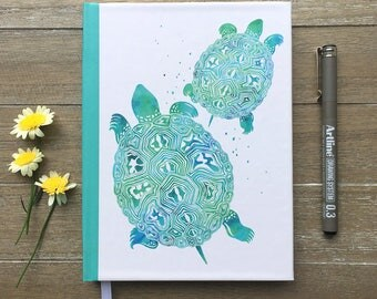 Turtle Notebook Hardcover // Watercolor Turtle Journal, Blank Journal Hardcover Notebook // Turtle Lover Gift, Idea Notebook