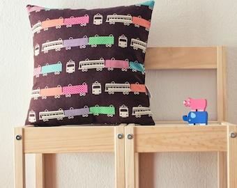 Brown retro trains pillow cover