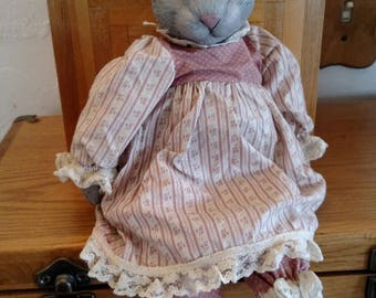 Vintage Ceramic and Cloth Bunny Rabbit