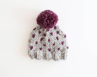 Baby Pom Pom Beanie, Pom Pom Hat, Baby Hat, Gray and Purple baby Hat, Pompom hat, Fair Isle Knit Hat, Little Hearts Hat, Ready to Ship